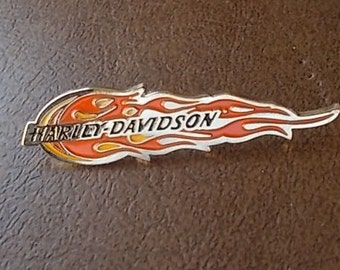 Vintage~Collectable~Harley Davidson Pin~Harley Jewelry~Biker accessorie~Motorcycle~ Harley  Flame  Pin~90's~Jacket Pin~Vest Pin~Biker Gift