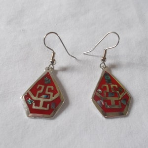Alpaca Silver~Earrings~Mexico~Abalone~Old~Vintage~Beautiful~Mexico~Abalone~Silver~Tear Drop~Jewelry~Dangle ~1960/'s~Hippie~Nice~Signed