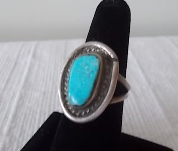 Old Pawn~Vintage~Native American~Sterling Silver~RING~Turquoise Stone~Old~Handmade~925~Fine Jewelry~Size~6 12~Mens~Womans~Southwestern~Nice