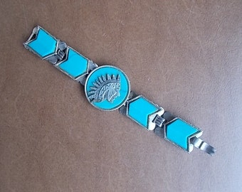 """Indian~Head~Chief~Turquoise~Silver~Bracelet~BIG BOLD STATEMENT~Bracelet~Arrow Head Links~Nicely Made~Fits 7""""  Wrist"""
