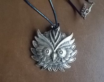 Large~Vintage~Owl~Pendant~Silver Pewter~Antiqued~Made in France~1980's~Pendant Necklace~Boho~Hippie~Harley Rider~Biker Jewelry~Mens~Womens