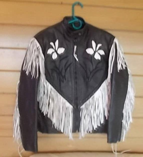 Genuine Leather Jacket~Black + White~Fringes~ Wome