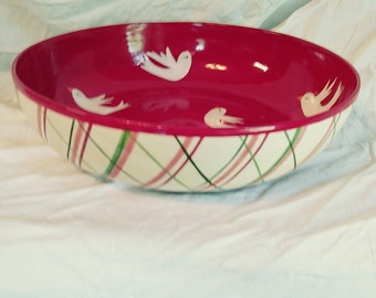 """Hand painted """"Surprise Inside""""  serving bowl"""