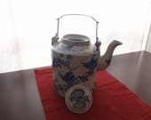 Chinese Blue and White Traditional Teapot with Brass Handle