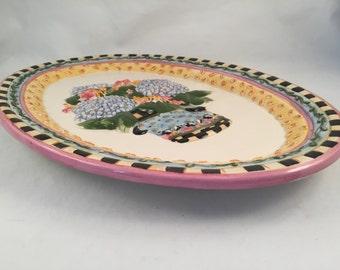 "Vintage Debbie Mumm Embossed Platter, Hand Painted Surface, Sakura 14-1/2"" X 10-1/2"""