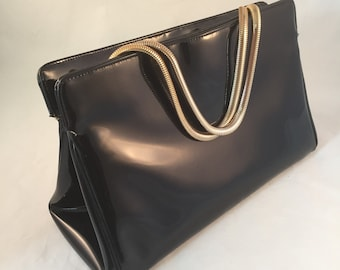 1940's Ingber Black Patent Leather Handbag with Chain Style Handles,  Made in USA