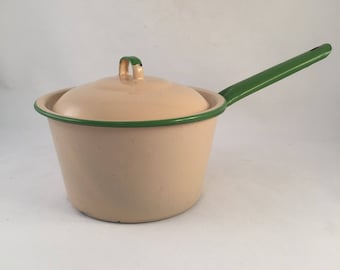 Vintage 1950's Enamelware Sauce Pan, Tan with Green Handle and Trim, Rustic Camping Pan, Decorative Rustic Pan