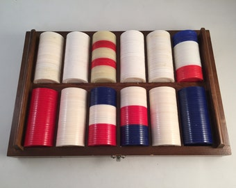 Large Lot of 300 Plus Poker Chip in a Variety of Colors Set in a Wood Caddy, Bottom Wood Caddy Top is Missing