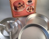 Vintage Checkerboard Cake Set in Original Box, Includes 3 Metal Pans, 1 Metal Cake Divider, Recipes and Instructions