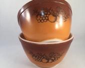 Set of 2 Vintage Pyrex Old Orchard Bowls 1-1 2 Pint 401, Pyrex by Corning, Old Orchard Pyrex Bowls, Retro Pyrex Mixing, Serving Bowls