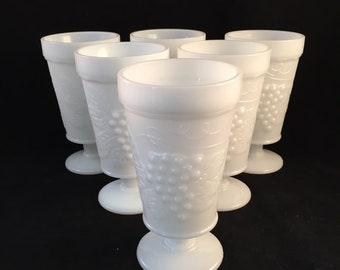 5c9c1b5b6bde Set of 6 Vintage Milk Glass Milkshake Glasses, Dessert Dishes Embossed  Grapes Pattern 1960's, Parfait, Jello, Dessert Glasses
