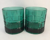 Set of 2 Green Tartan Anchor Hocking Low Ball Glasses, Vintage Green Glassware, Tartan by Anchor Hocking, 8-10 oz.