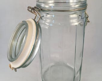 Large Glass Clamp Lid Cookie Jar With Christmas Tree On Front Etsy