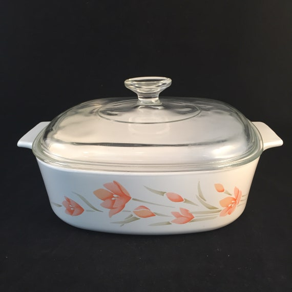 2 Liter Peach Blossom Corning Ware Casserole Dish with Clear Glass Lid,  Baking Dish, A-2-B/2 Liter, Vintage Floral Corning Ware Casserole