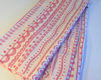 """Cotton Fabric Pink Ribbon Breast Cancer Awareness, Measuring 27"""" X 36"""", Tiny Detailing Great for Boarders or Quilting Pieces"""