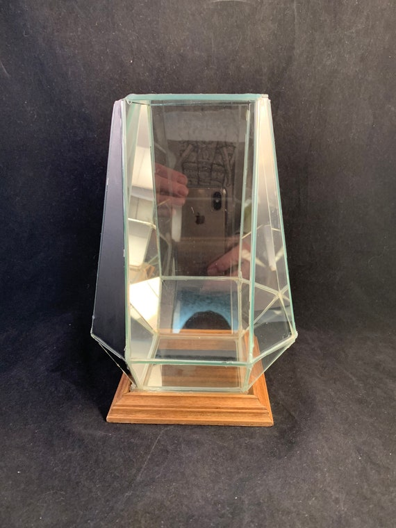 Vintage Glass Terrarium With Flip Top Lid Mirror Back And Etsy