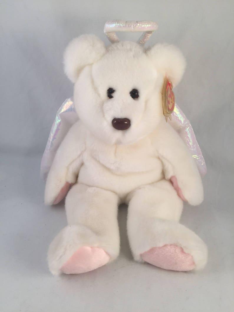 Large Plush Halo Beanie Buddies Collection Rare Angel Bear  8ff6cb96e8c