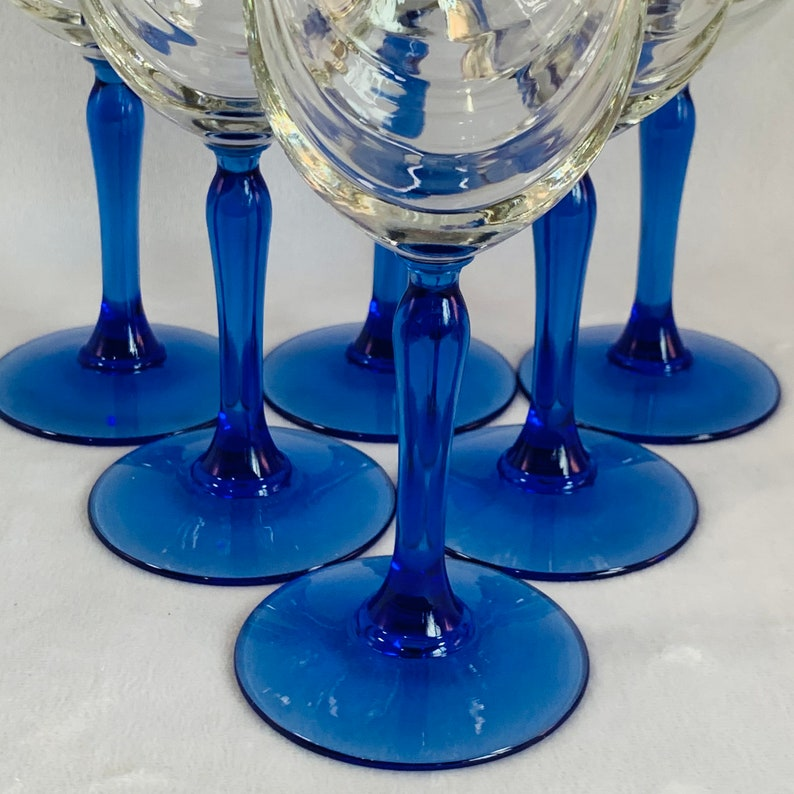 Drinking Glasses Holds 8 oz. Goblets Set of 6 Lenox Swag Blue Stem Glasses with Gold Rims Perfect for Special Occasions or Everyday Use
