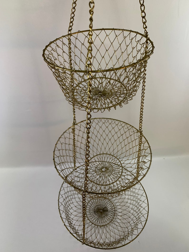 Gold Tone 3 Tier Hanging Wire Basket Extra Long 36 Small Medium And Large Baskets Rustic Hanging Basket Fruits Vegetables Toys