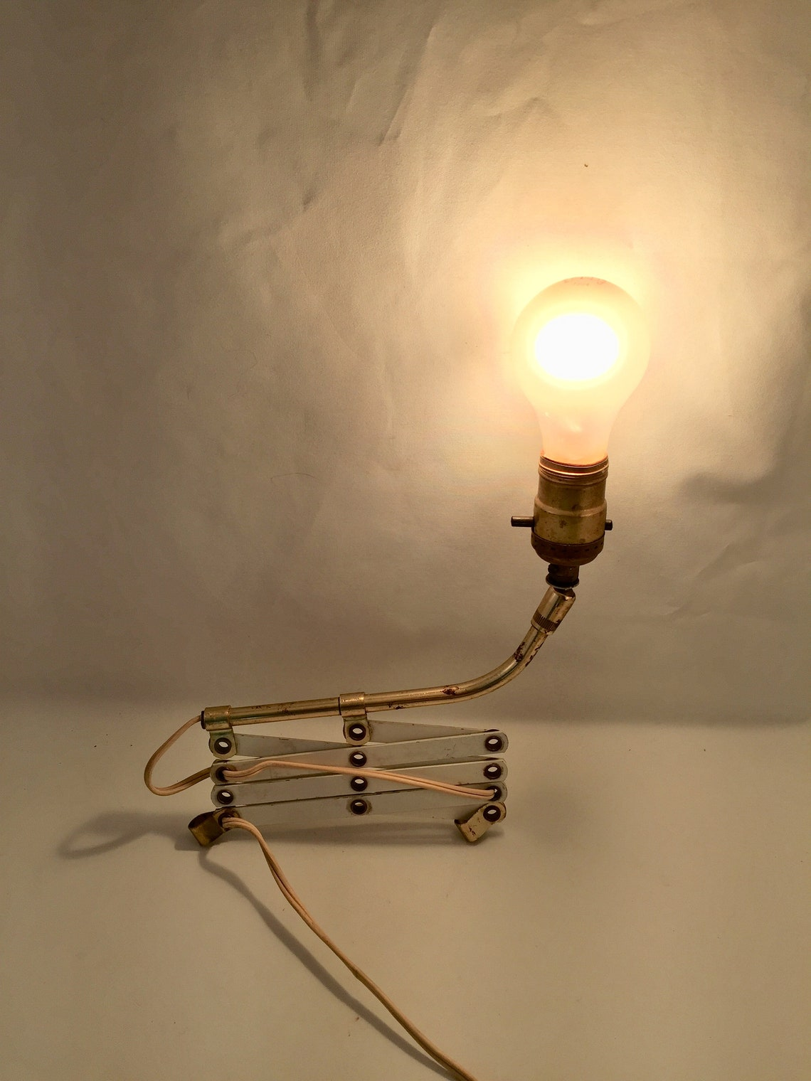 Vintage Expandable Wall Mount Light, White Metal Accordion Design with Brass Light Bar, Very Rustic in Working Order but Needs Some TLC - Eclairage