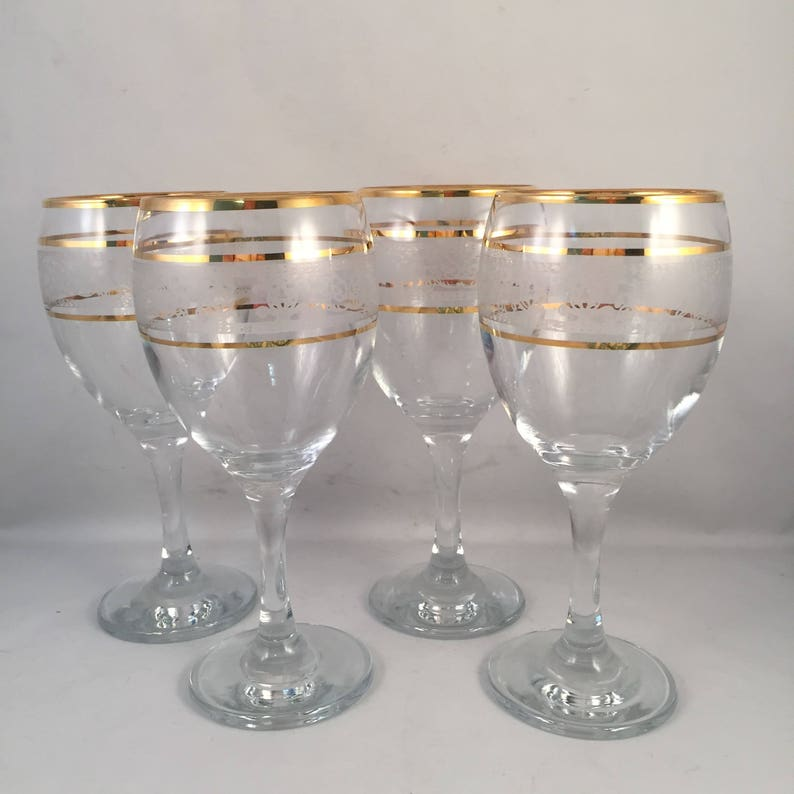 5a299db836b Set of 4 Gold Rim Wine Glasses with White Etching and 3 Gold