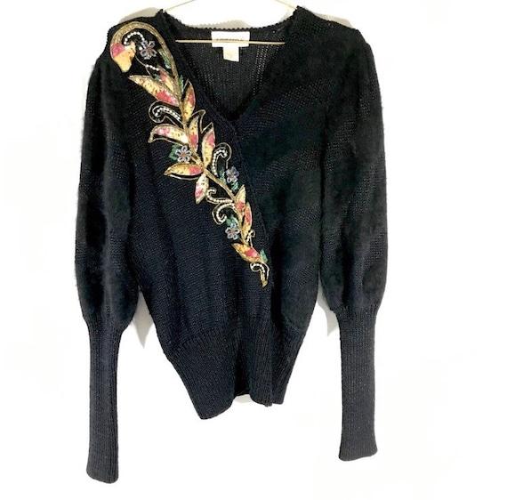 80s VINTAGE Black Angora Floral Gold Sequin Puff S