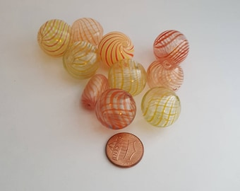 10 BLOWN GLASS HOLLOW Beads, Yellow & Orange
