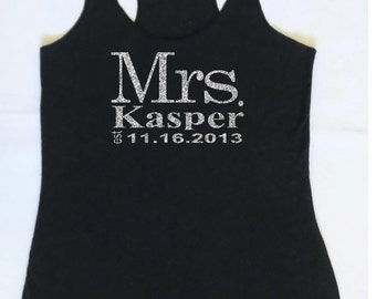 Eco Mrs. Tank Top. Wedding Clothing. Personalized date Shirt. Bride Gift. Mrs. Last Name Tank top. Wedding Tank Top. S, M, L, XL