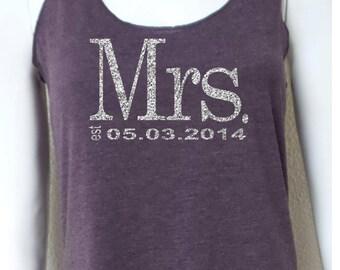 Mrs. Tank Top. Wedding Clothing. Mrs. Last Name Tank top. Eco Mrs Tank. Wedding Tank Top. Personalized date Shirt. Bride Gift.