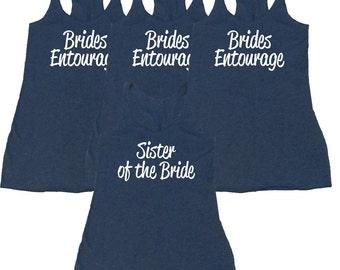Set of 4 Bridesmaid Tanks. Bridal Entourage Tanks. Eco Flowy Racerback Tank. Bridal Party Tanks. Bachelorette Party Tanks. Bride Shirts.