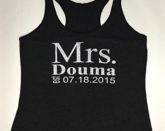 Mrs.Tank Top. Wedding Clothing. Personalized date Shirt. Bride Gift. Mrs. Last Name Tank top. Bride Tank. Wedding Tank Top.