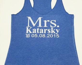 Eco Mrs. Tank Top. Wedding Clothing. Last Name Tank top. Bride Shirt. Wedding Tank Top. Personalized date Shirt. Bride Gift. Mrs.