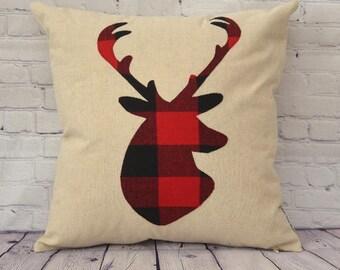 Deer stag Pillow Cover - buffalo plaid - Farmhouse Decor - Home Decor - Deer Decor - Accent Pillows - 18 x 18 pillow - Stag Pillow - Deer