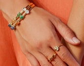 sapphire bracelet, raw gemstone bracelet, real emerald bracelet, september birthstone bracelet, raw imperial topaz bracelet, boho jewelry