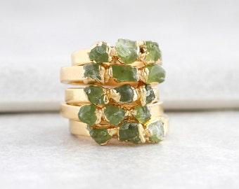 green peridot ring | raw peridot stacking ring | august birthstone jewelry | august birthstone ring | raw stone ring | rough peridot ring