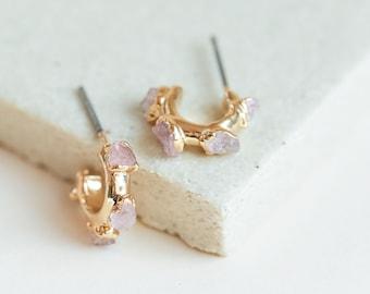 DV Jewels Rose Quartz Hoops