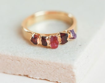 raw ruby ring | july birthstone ring | rough garnet ring | natural spinel ring | january birthstone ring | ruby crystal ring | mineral ring