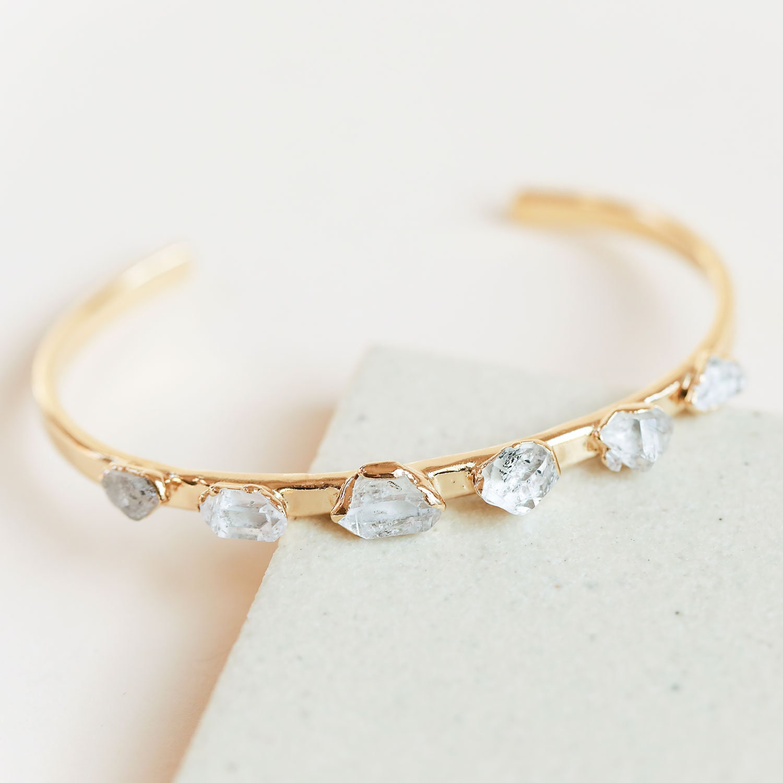 Handmade gift Hammered copper bracelet April birthstone 7th Anniversary Medium Herkimer diamond copper bangle