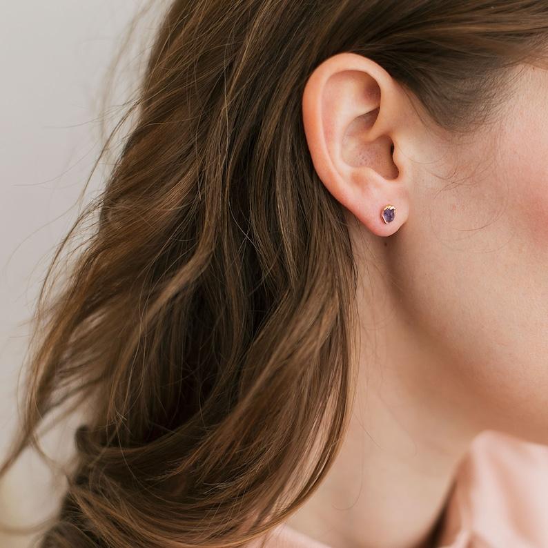 minimalist crystal jewelry mini raw amethyst studs february birthday gift for her tiny amethyst gemstones gold and amethyst earrings