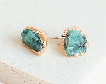 emerald earrings   raw emerald studs   may birthstone earrings   may birthstone studs   gold emerald stud earrings   raw crystal earrings