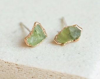 green peridot studs   raw peridot earrings   august birthstone studs   raw crystal earrings   natural peridot earrings   green stone studs