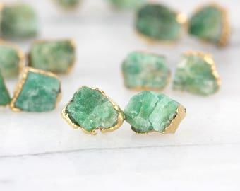 emerald earrings | raw emerald studs | may birthstone earrings | may birthstone studs | gold emerald stud earrings | raw crystal earrings