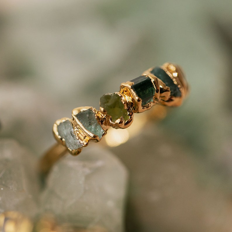 ombre ring green stacking ring unique gemstone ring raw image 1
