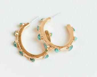 emerald hoops | emerald earrings | raw emerald hoop earrings | may birthstone hoops | emerald stone hoops | emerald crystal hoops