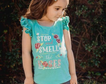 SALE** Stop & Smell the Roses Girls T Shirt - Reg. 28 - NOW 9.99