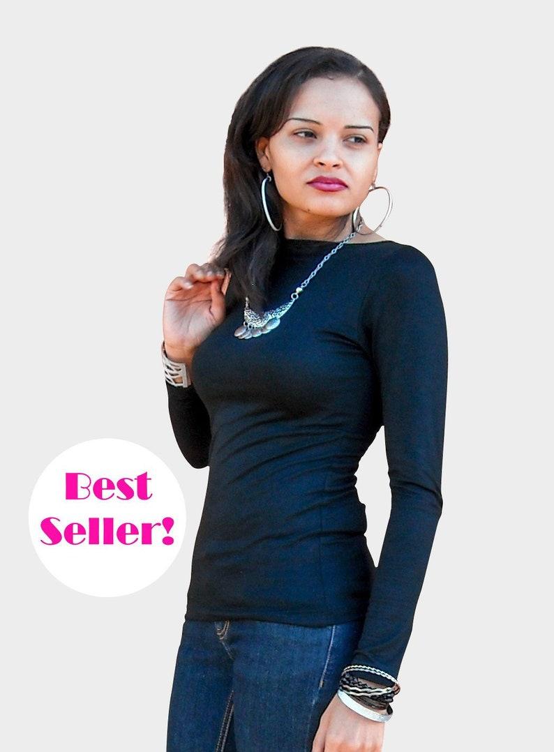 5509e6c627d Free Shipping Classic Black Top Women s Boatneck Shirt