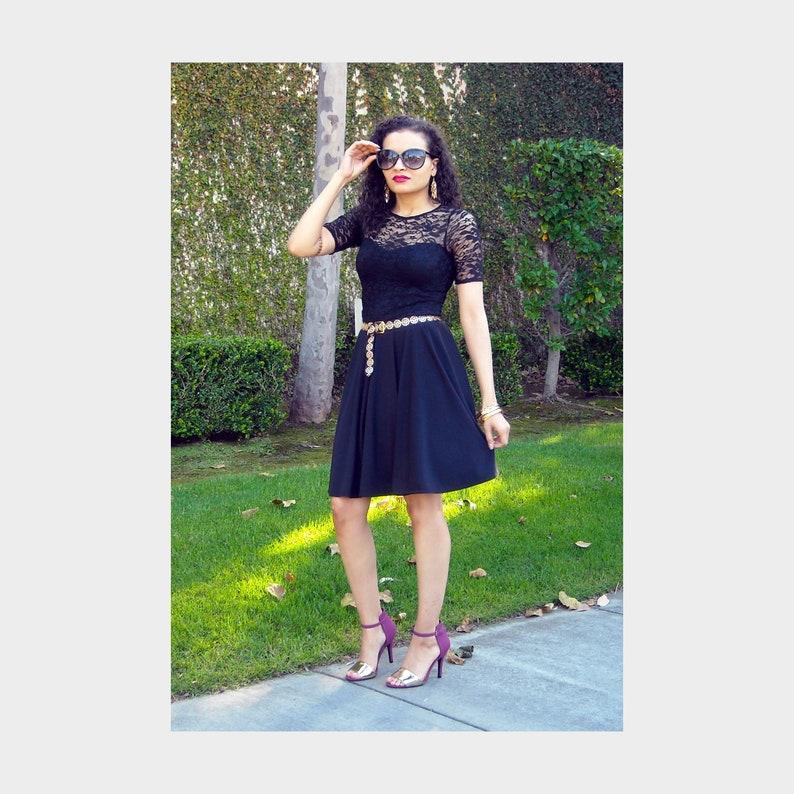 cba1c82e3d239 Free Shipping - Black Lace Dress -Circle Skater Plus Size Dress -  Sweetheart Neckline - Mid Length Sleeve