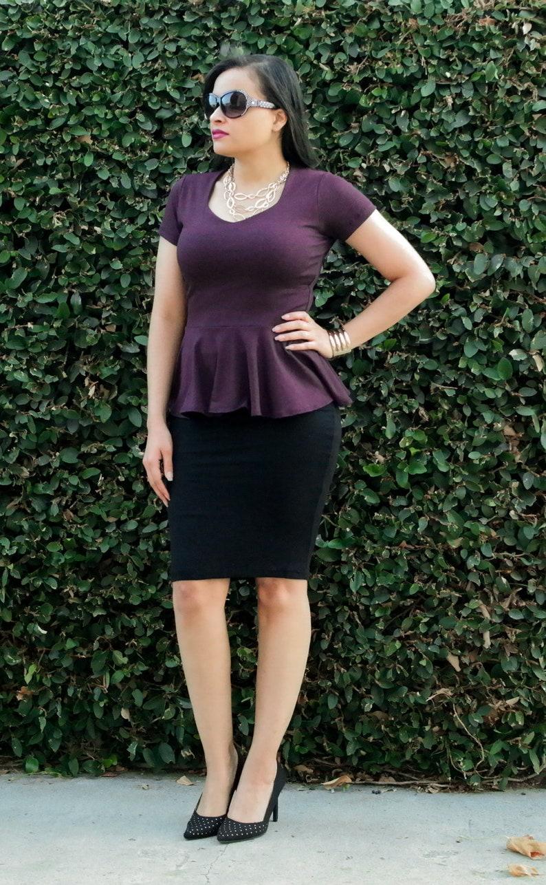 57d76d688 Womens Skirt Black Pencil Skirt Stretchy Knee Length Skirt   Etsy