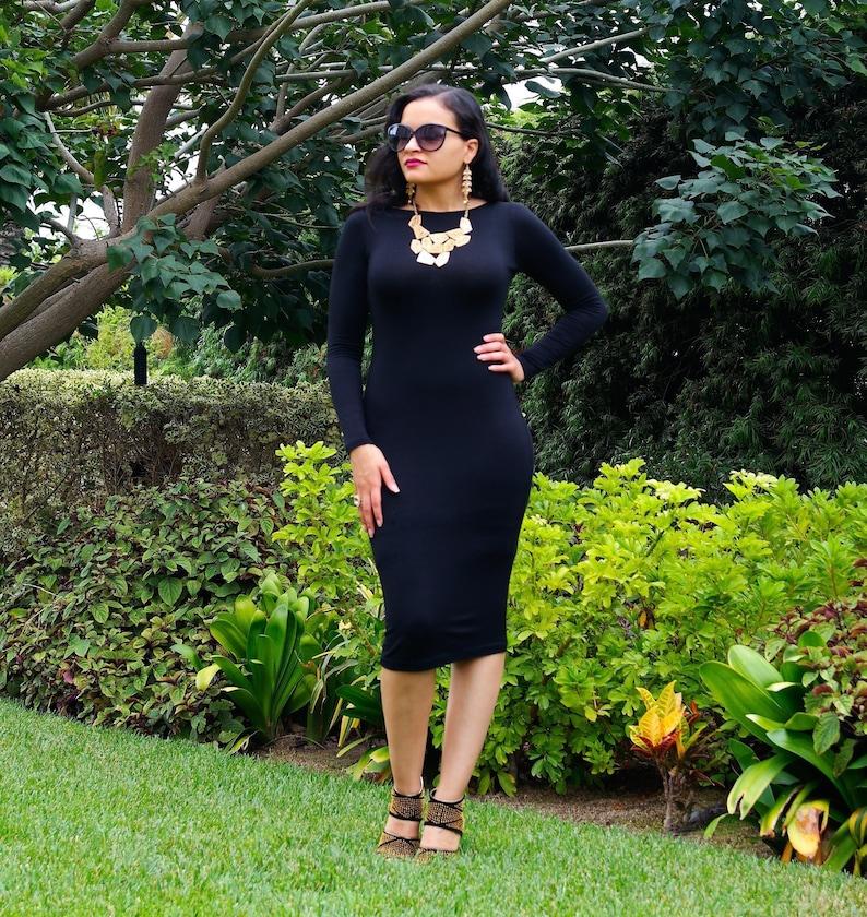 Elegant Little Black Dress Plus Size Dress Midi Pencil | Etsy