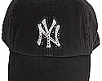 e8ad7bb4fd498 Swarovski Rhinestone New York Yankees Baseball Cap in Black Twins Enterprise  One Size Fits All